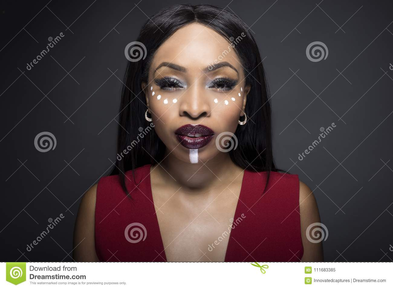 Download African Tribal Face Paint On A Fashion Model Stock Image - Image of beautiful, ethnic: 111683385