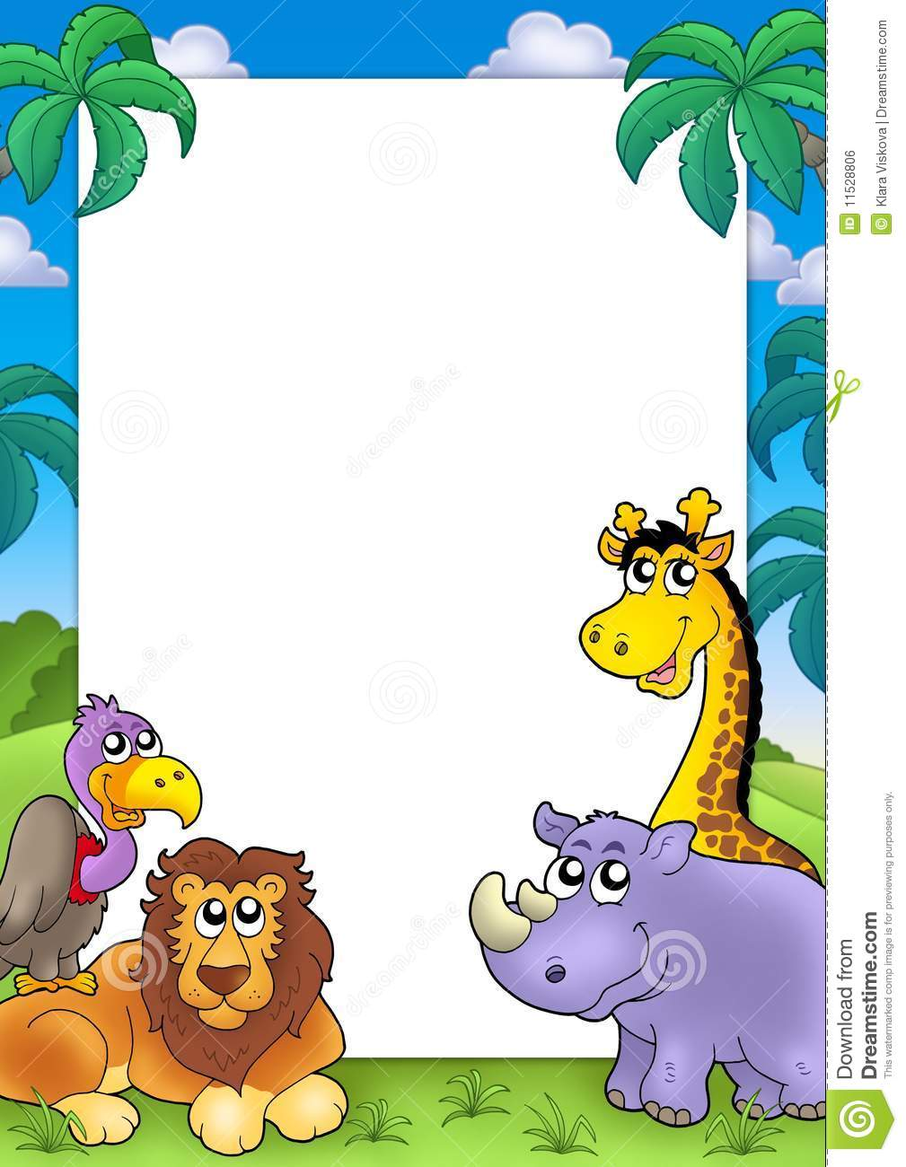 African Frame With Animals 3 Royalty Free Stock Image