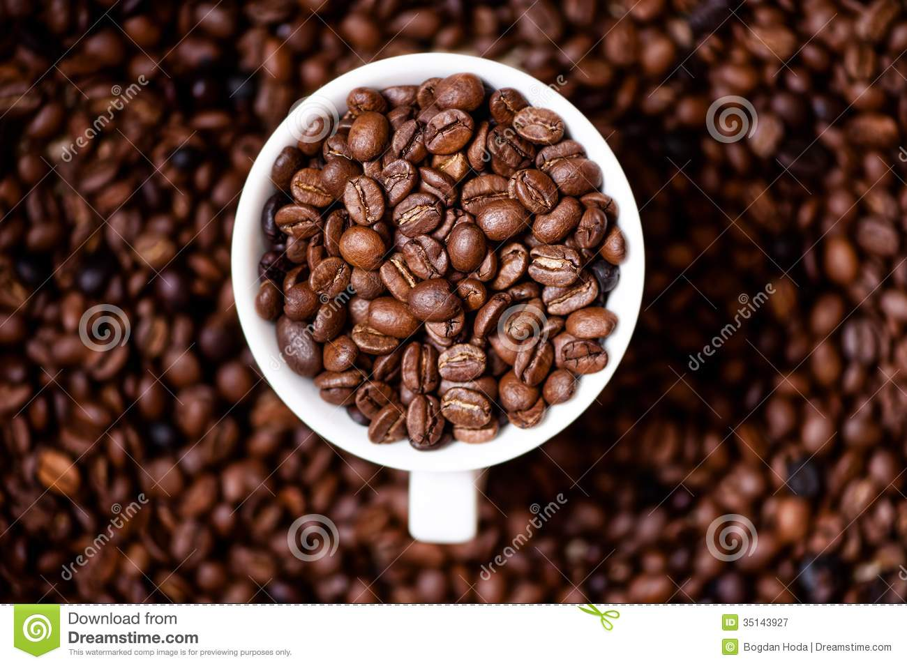 African Fresh Bio Coffee Beans With Cup Detail View From