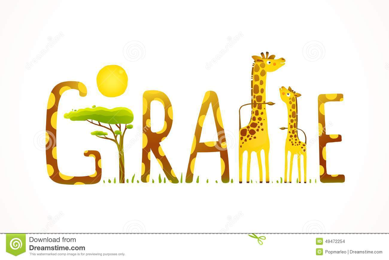 African Giraffe Animals Fun Lettering Landscape Stock Vector Image