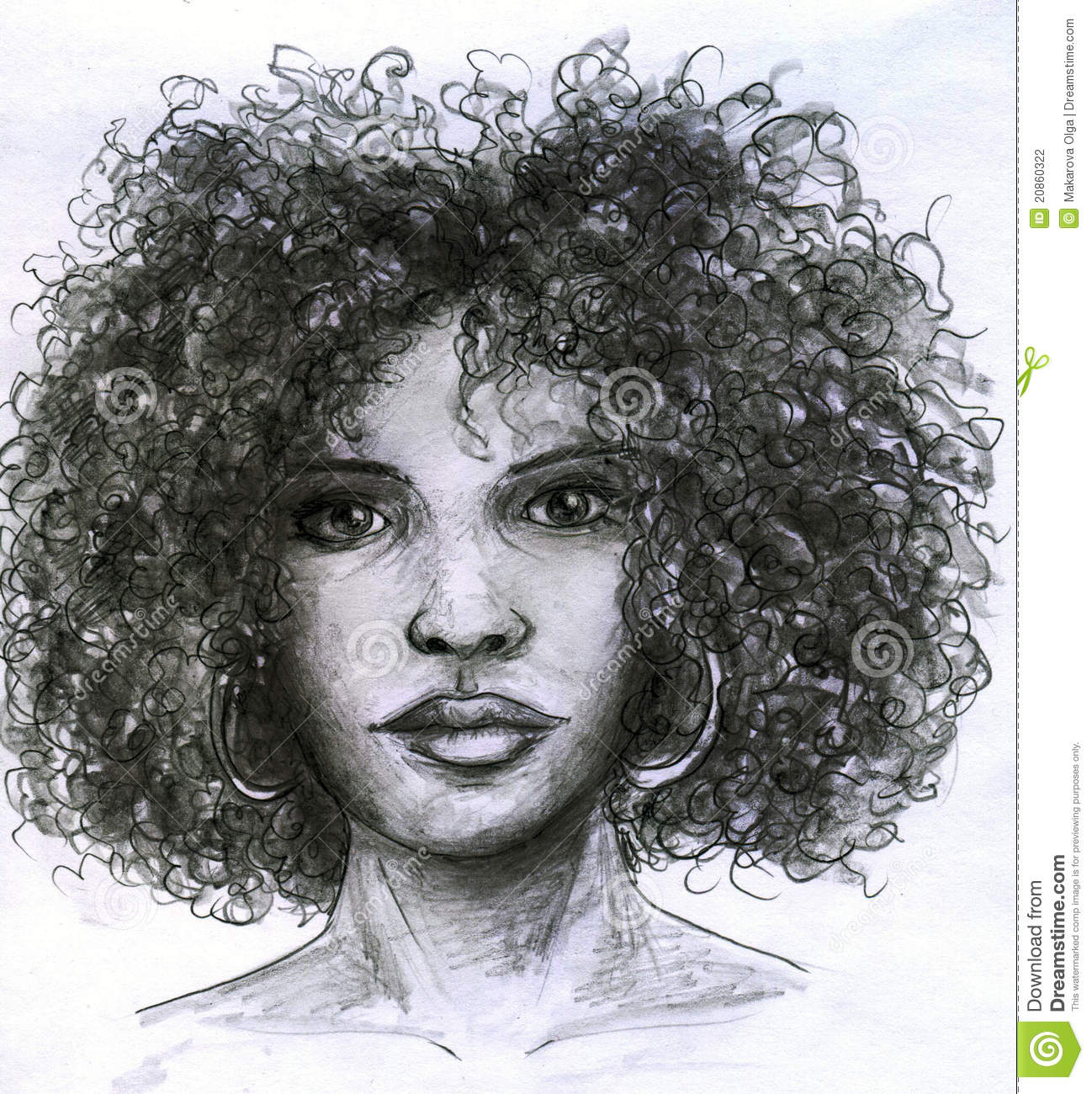African girl with curly hair and big earrings pencil drawing sketch