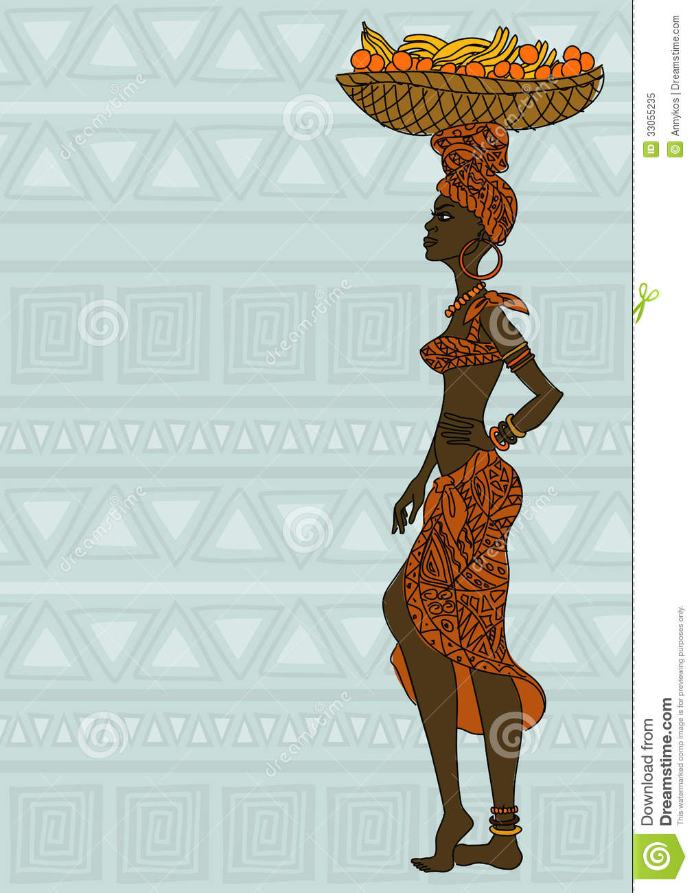 African Girl With Fruit Basket On The Head Royalty Free