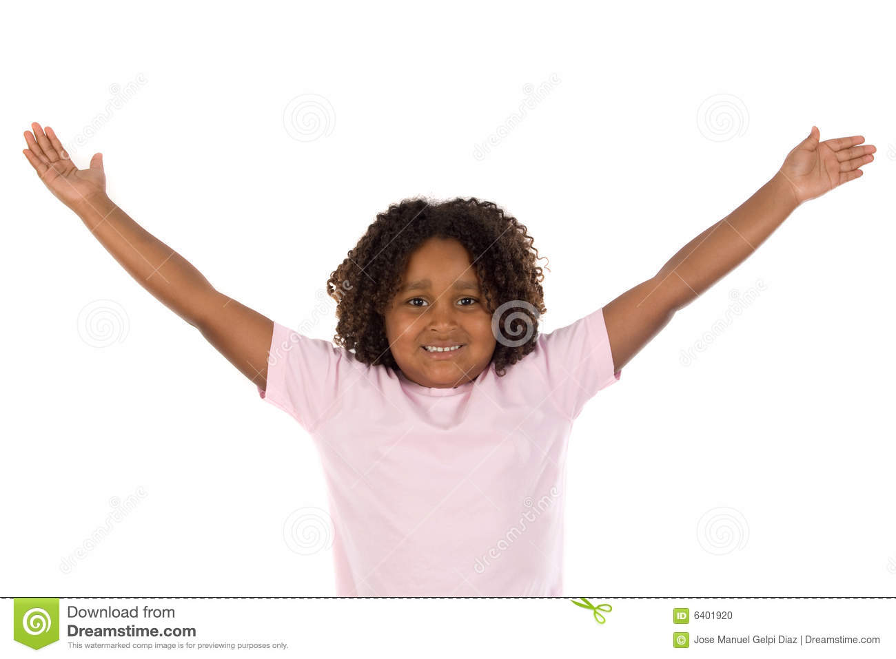African Girl With Her Arms Outstretched Stock Photo ... Golf Ball On Tee Clipart