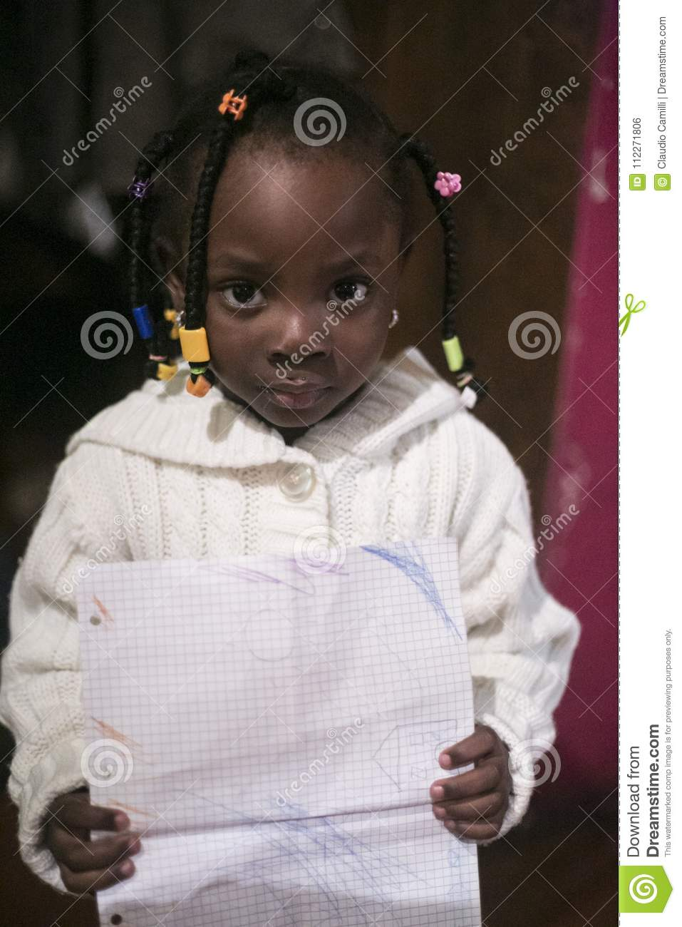 Download African Girl Shows His Drawing Editorial Photo - Image of studying, chalk: 112271806