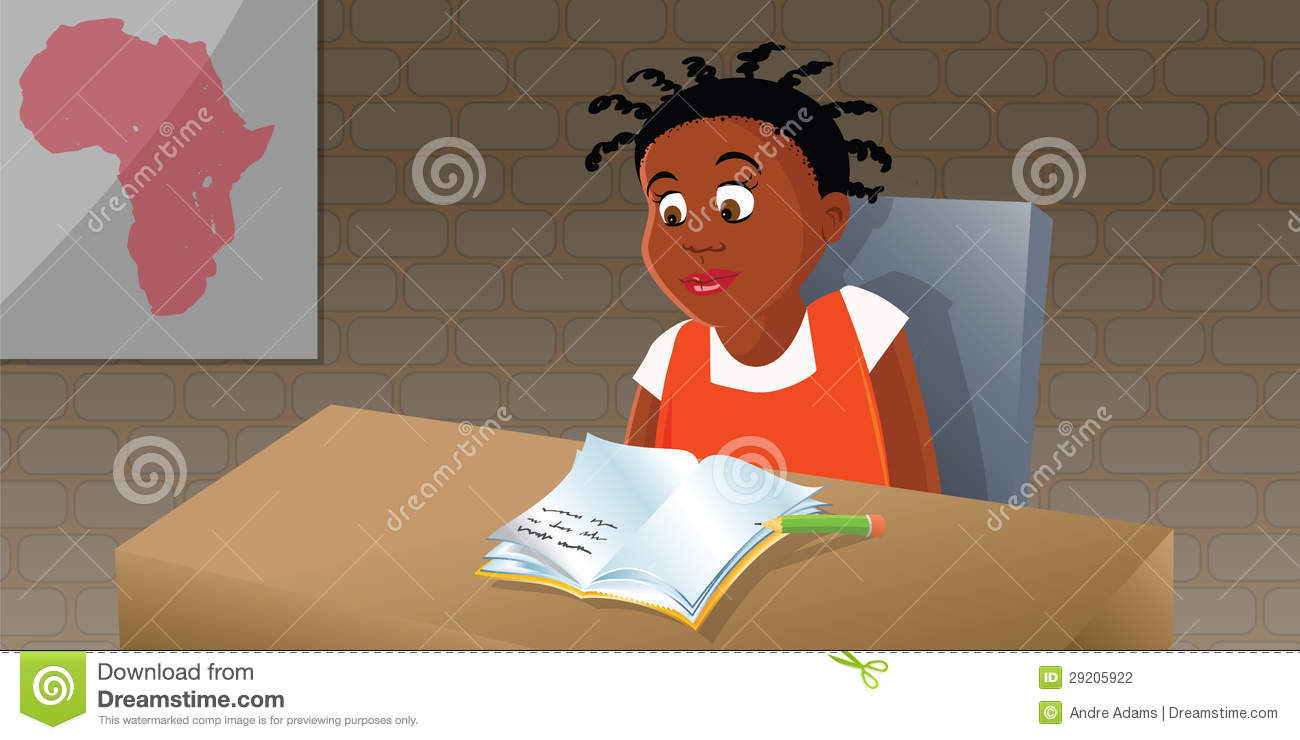 African girl studying