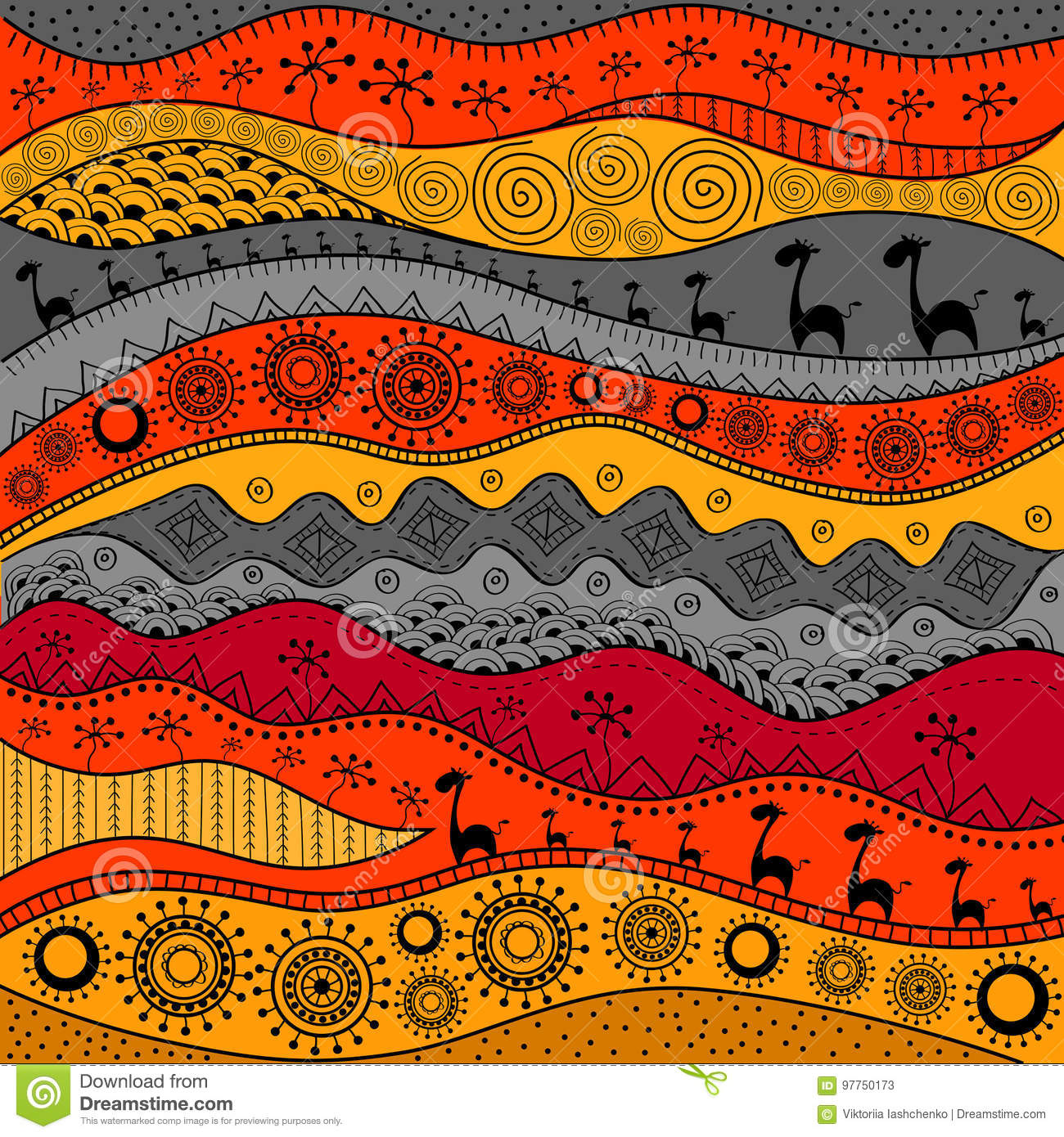 African Hand Drawn Ethno Pattern Tribal Background Stock Vector