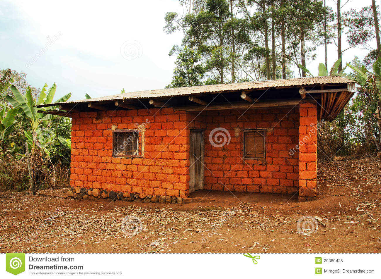 African House Made Of Red Earth Bricks Stock Image Image Of Poor