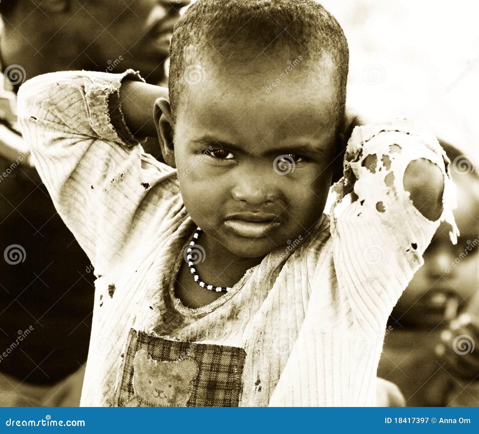 Africakenyasamburunovember 8portrait of an african kid of samburu tribe village posing to camerareview of daily life of local peoplenear samburu park