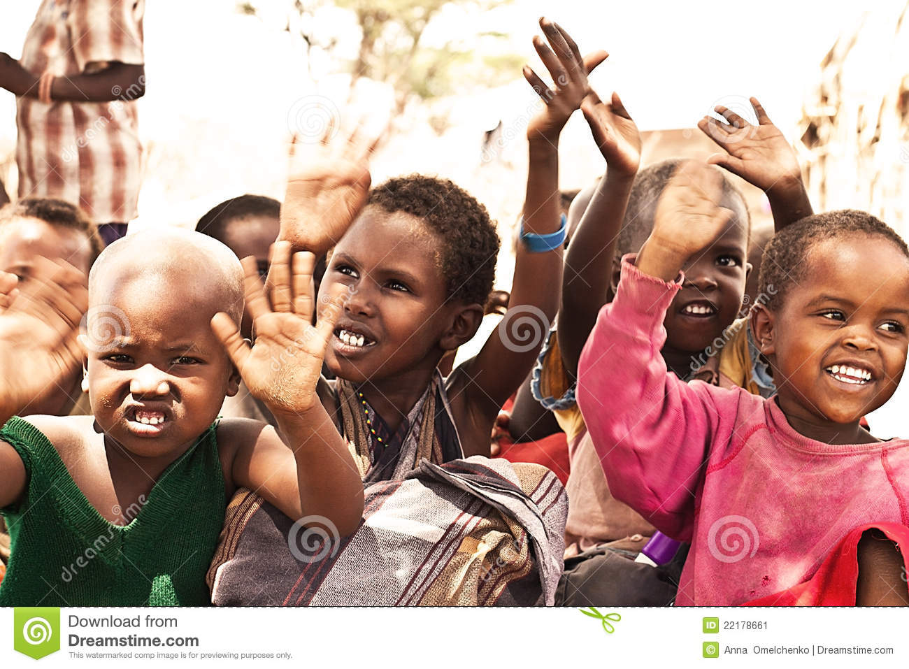 African kids with hands up