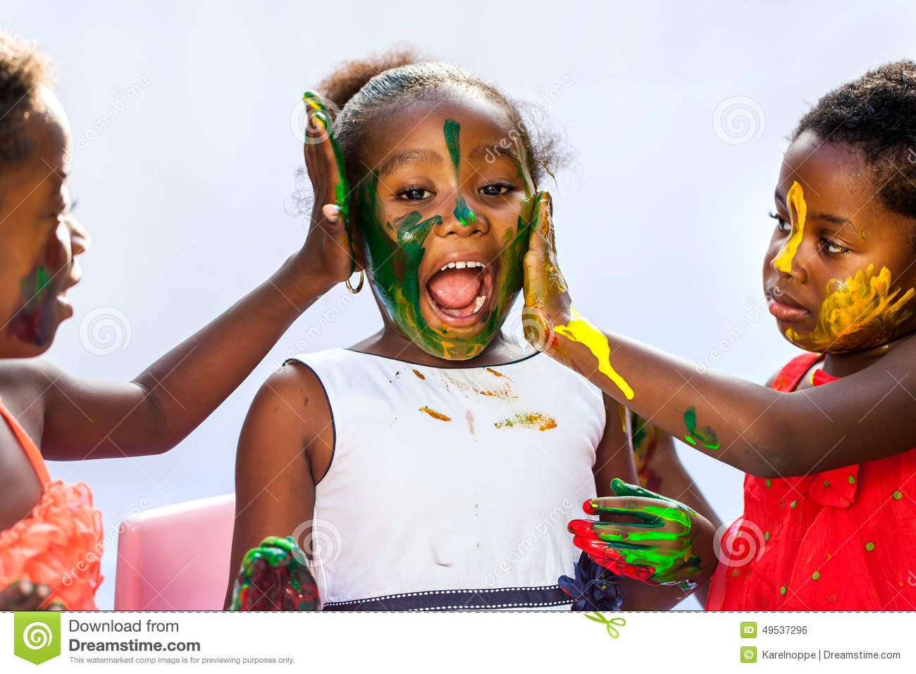 african kids painting friends face royalty free stock image - Kids Paint Free
