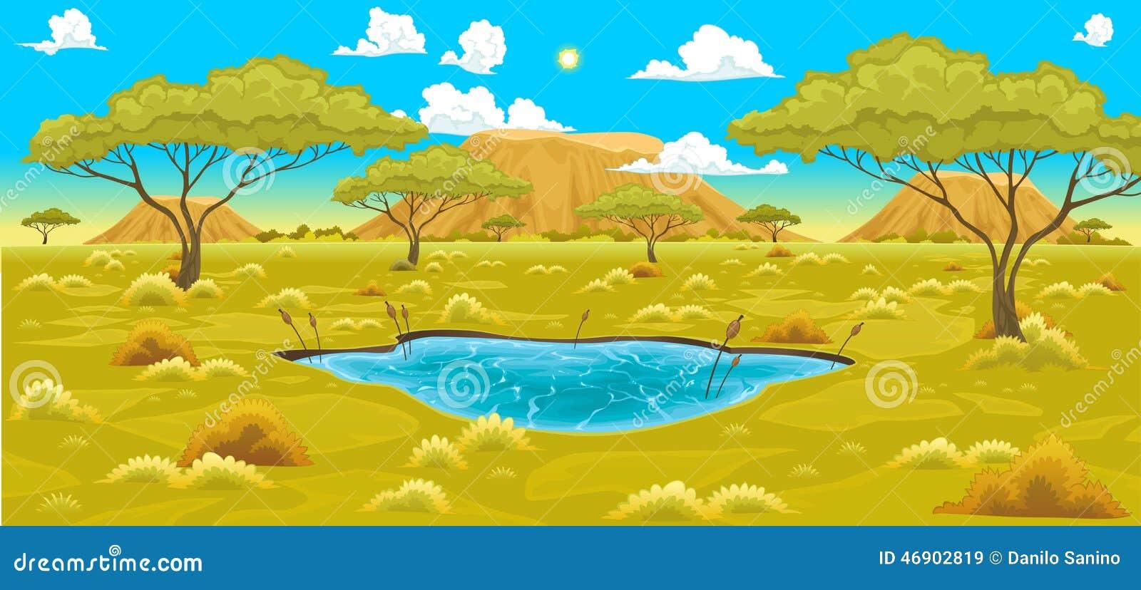 Landscape Illustration Vector Free: African Landscape Stock Vector