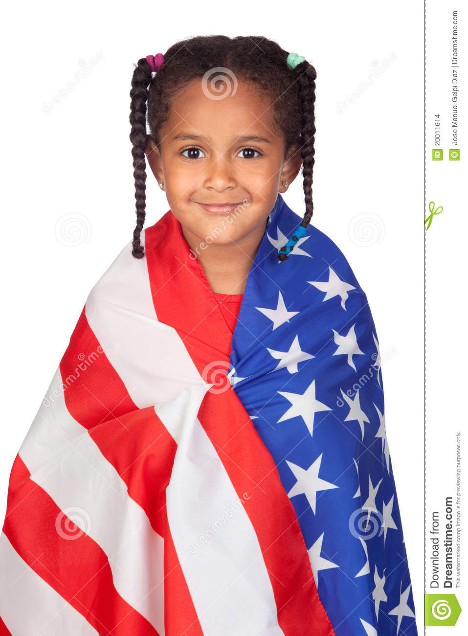 African little girl with a American flag