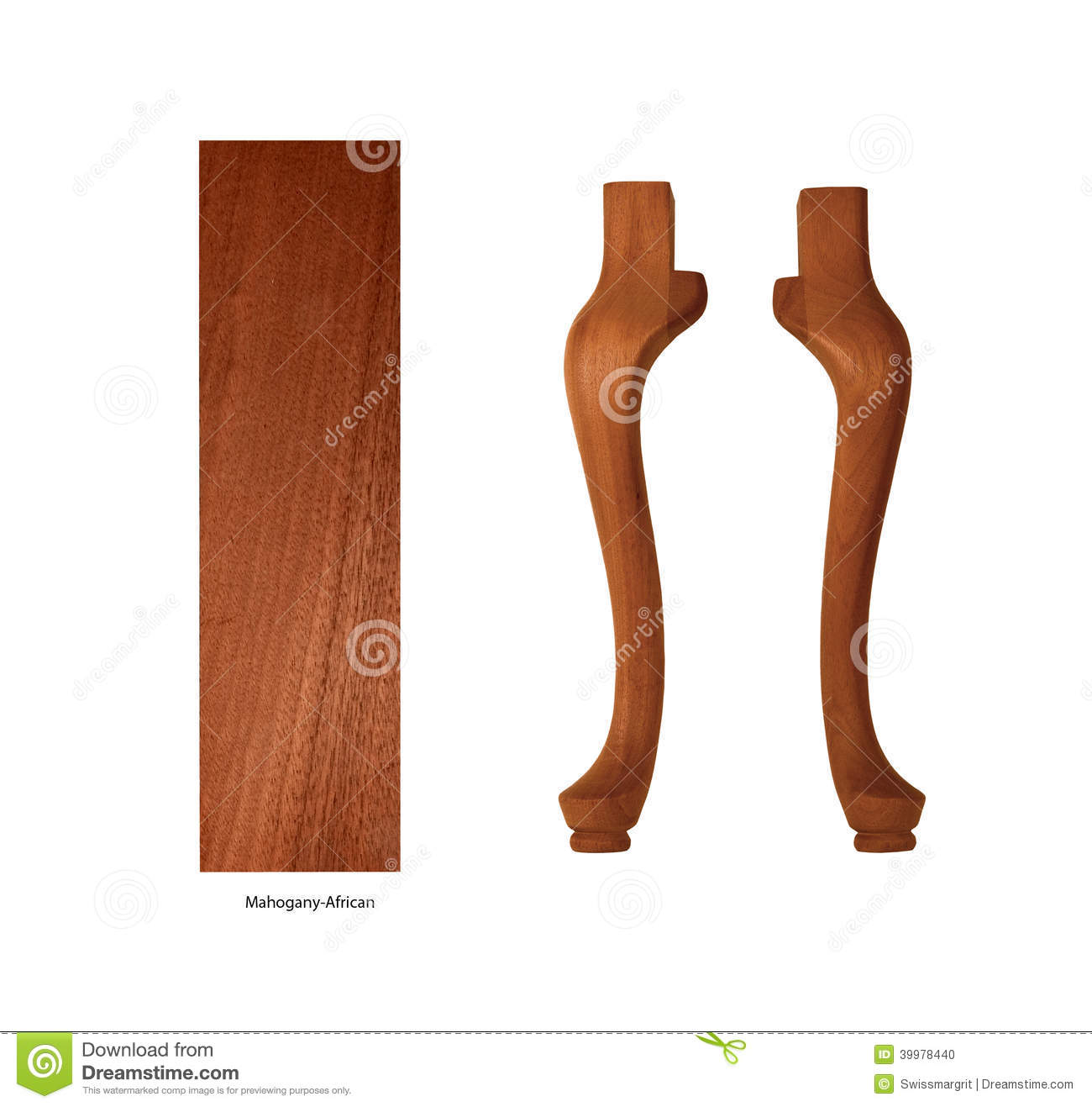 African Mahogany Panel And Table Legs On A White