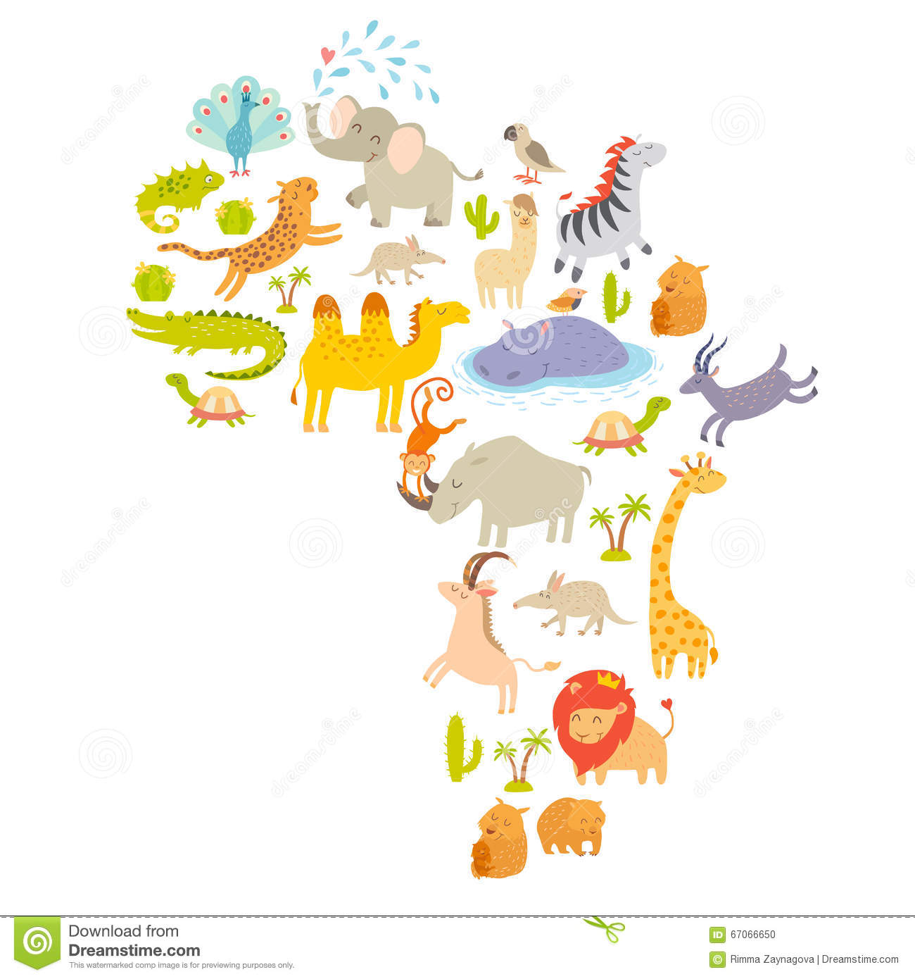 African Mammal Map Silhouettes On White Background Vector