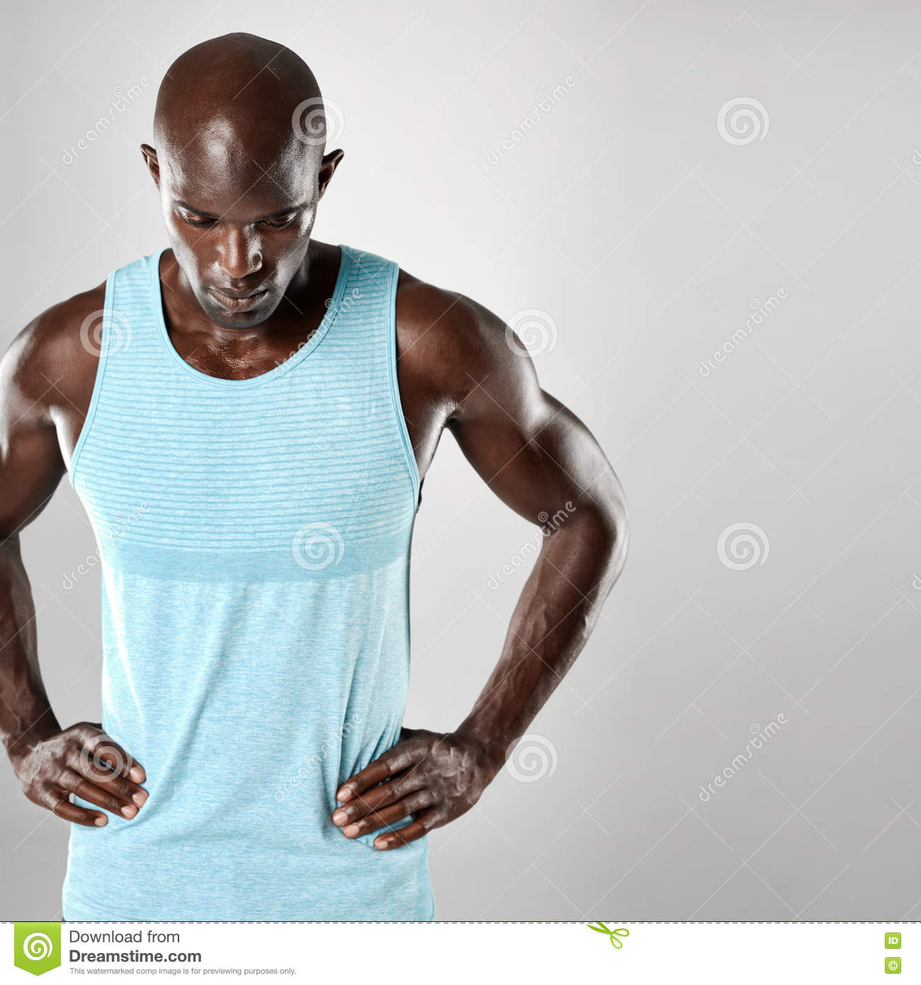 African Man With Bald Head And Muscular Arms Stock Photo Image Of