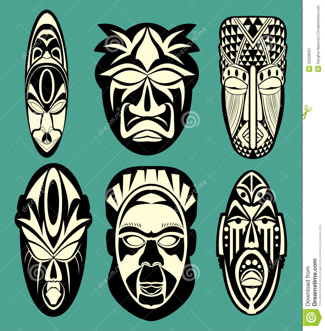 African Masks Stock Vector Image 52528597