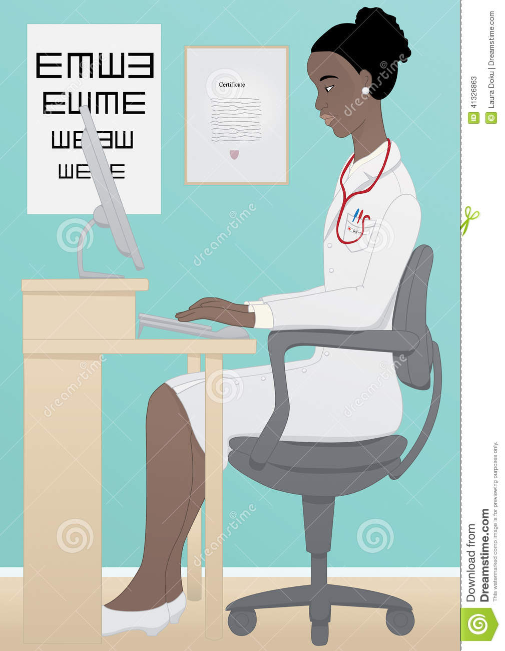 african medical doctor working on computer stock photo