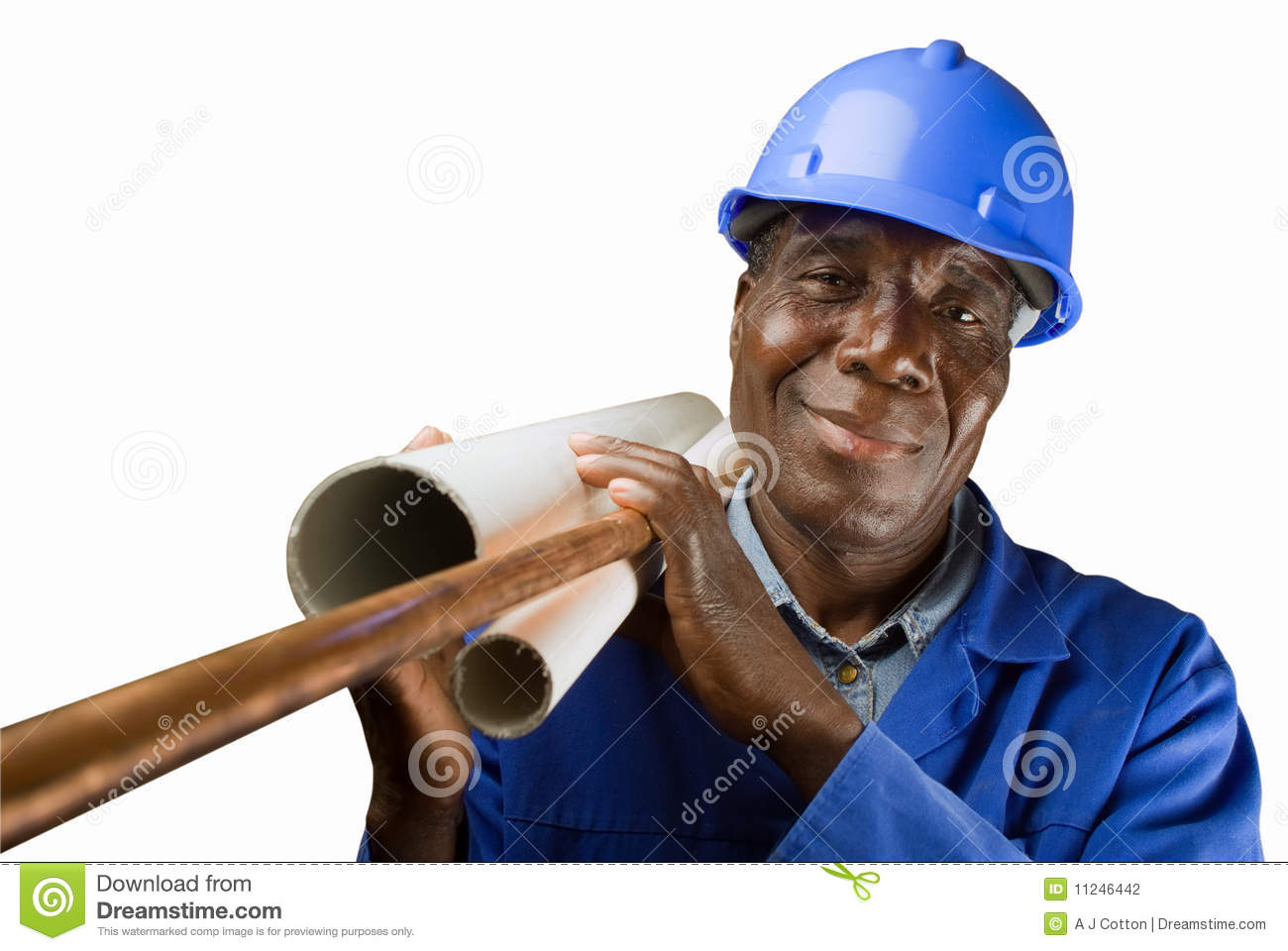 African Plumber Worker Stock Photo Image Of Isolated