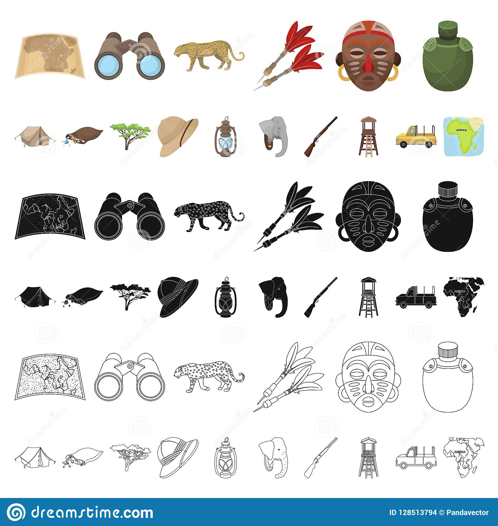 African Safari Cartoon Icons In Set Collection For Design