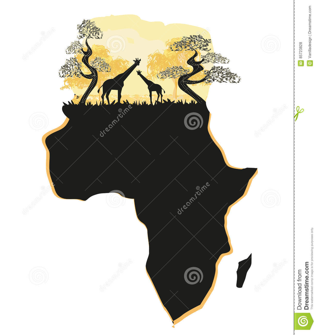 Africa Map Silhouette Vector.African Safari Map Silhouette Stock Vector Illustration Of