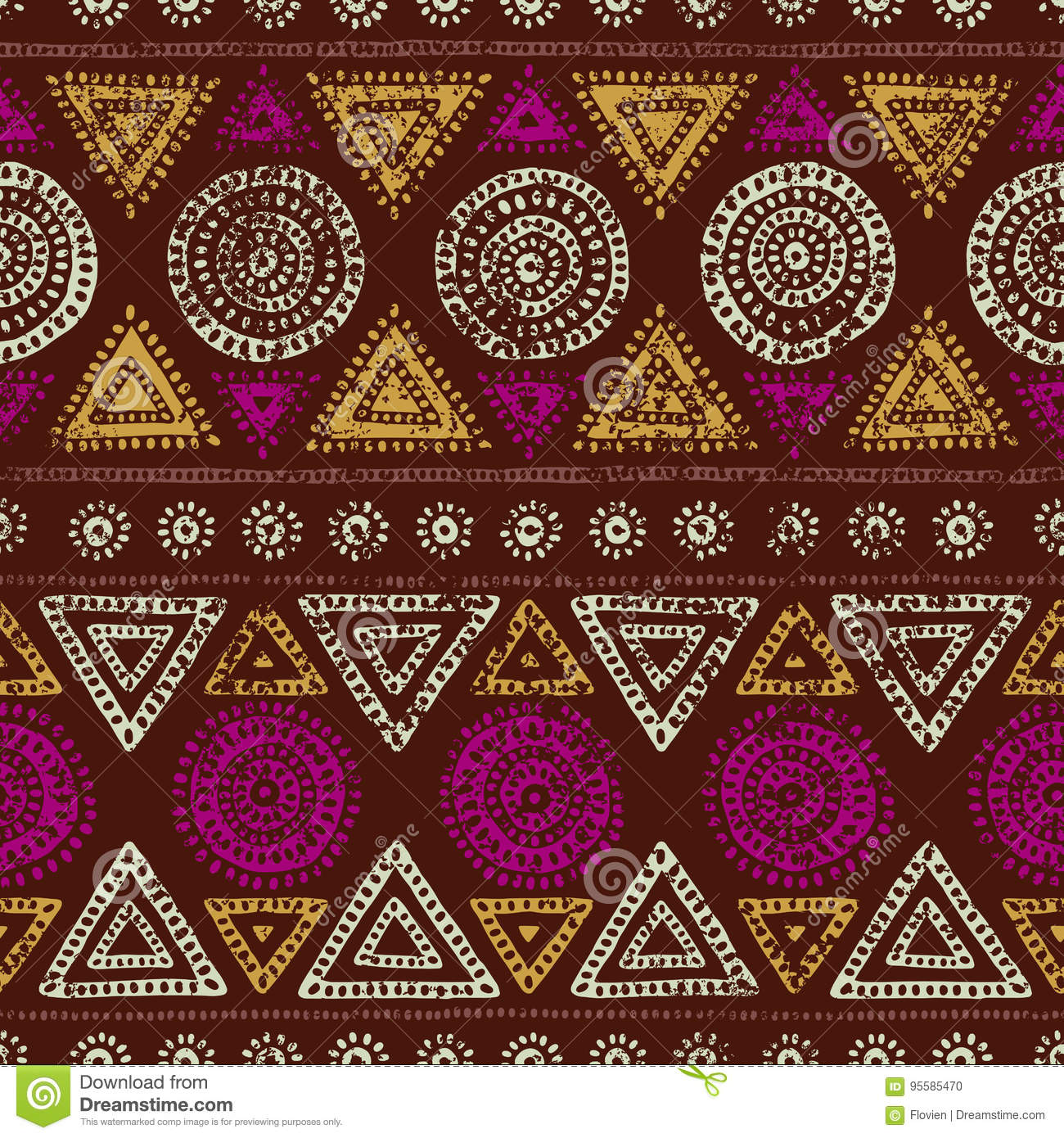 African seamless print. Grunge texture. Vintage ornament. Tribal