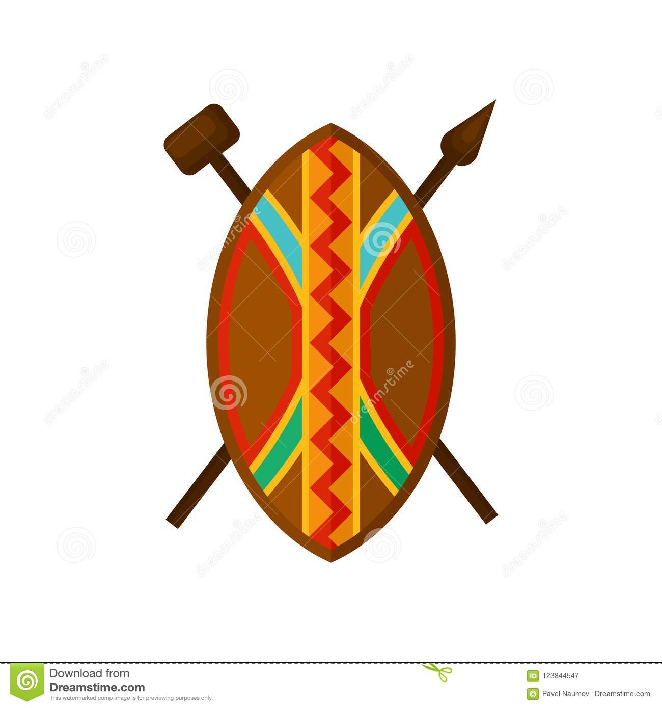 Warrior Zulu With Shield And Spears Isolate Royalty-Free