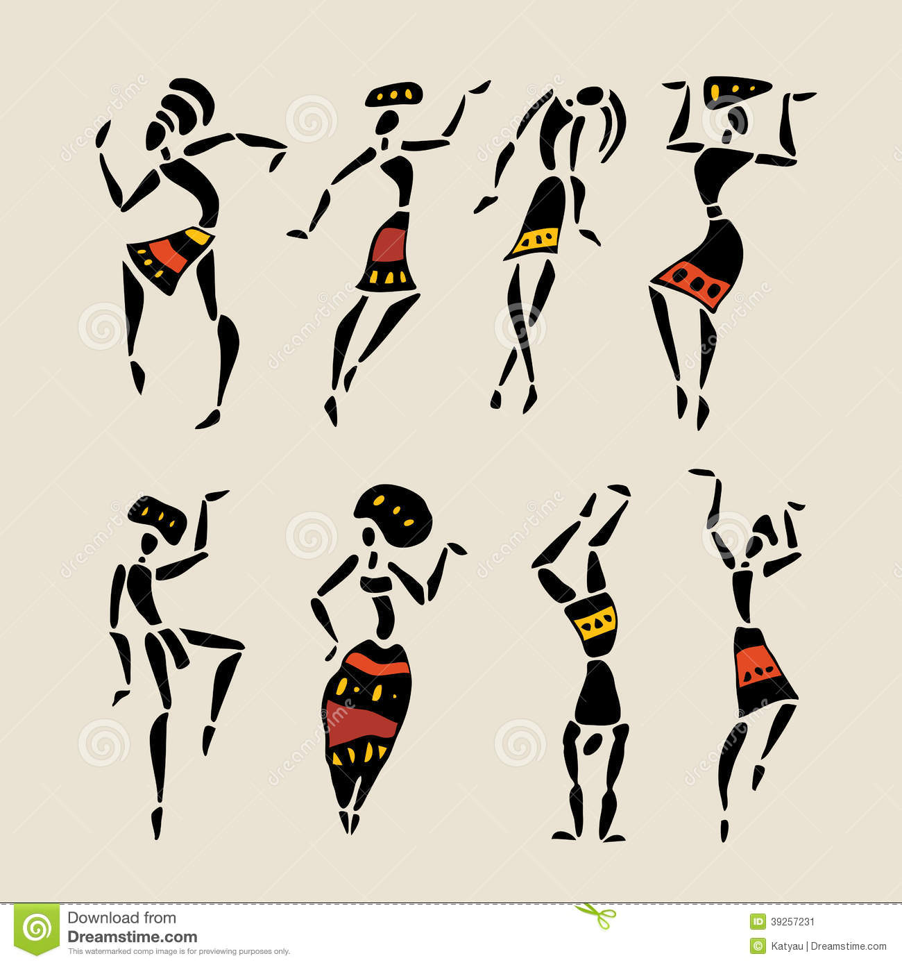 Figures of african dancers. People silhouette set. Vector Illustration ...