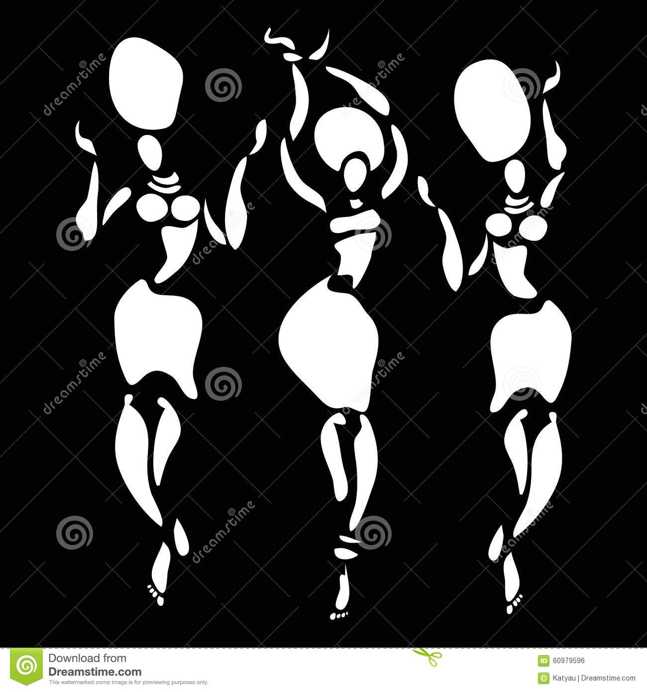 Figures of african dancers. Vector fashion illustration.