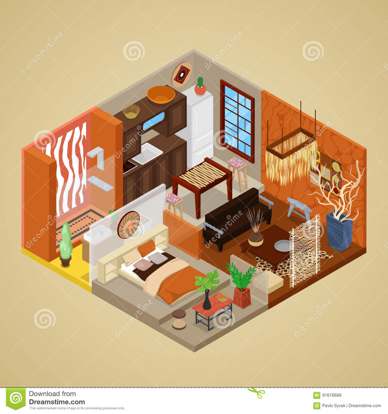 African Style Interior Design With Living Room And Kitchen