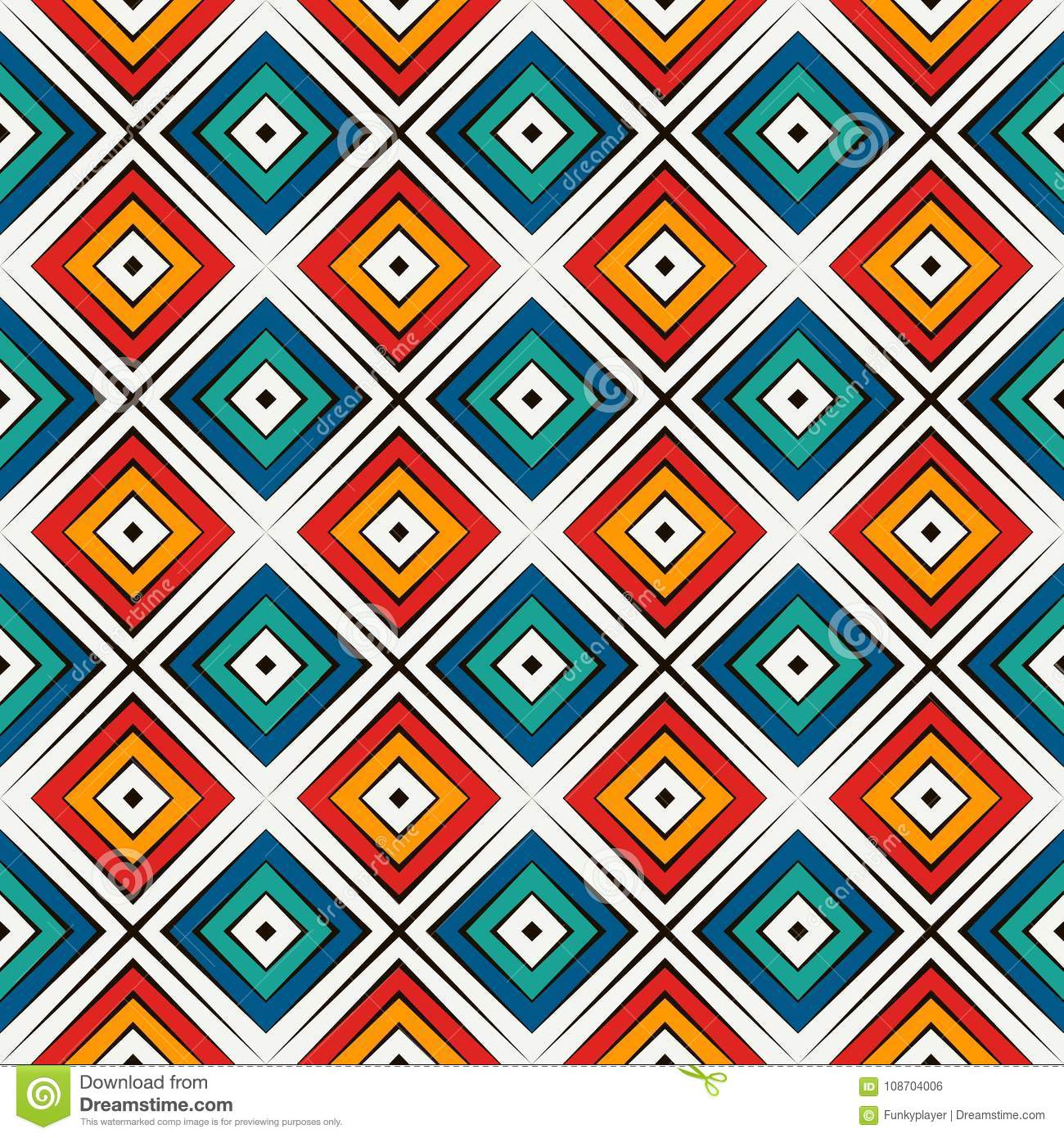 African style seamless pattern in bright colors. Ethnic and tribal motif. Repeated rhombuses abstract background.