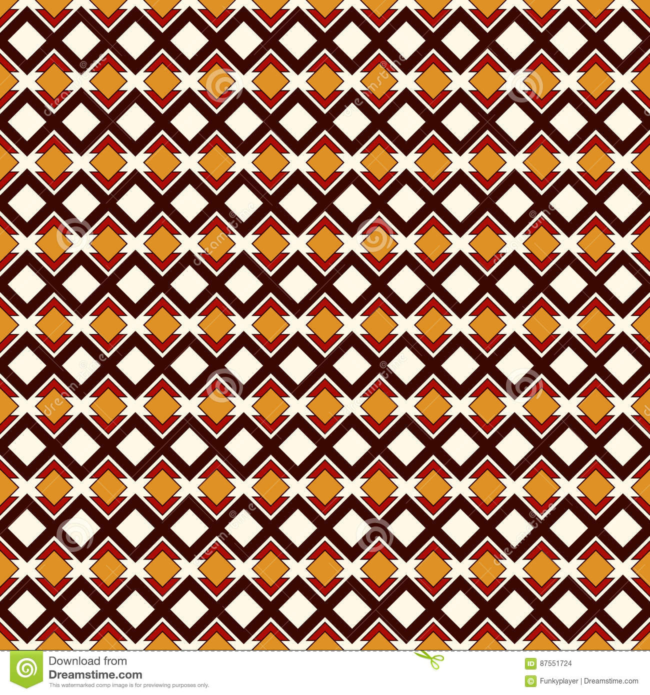 African style seamless pattern with geometric figures. Repeated diamond ornamental abstract background. Ethnic motif.