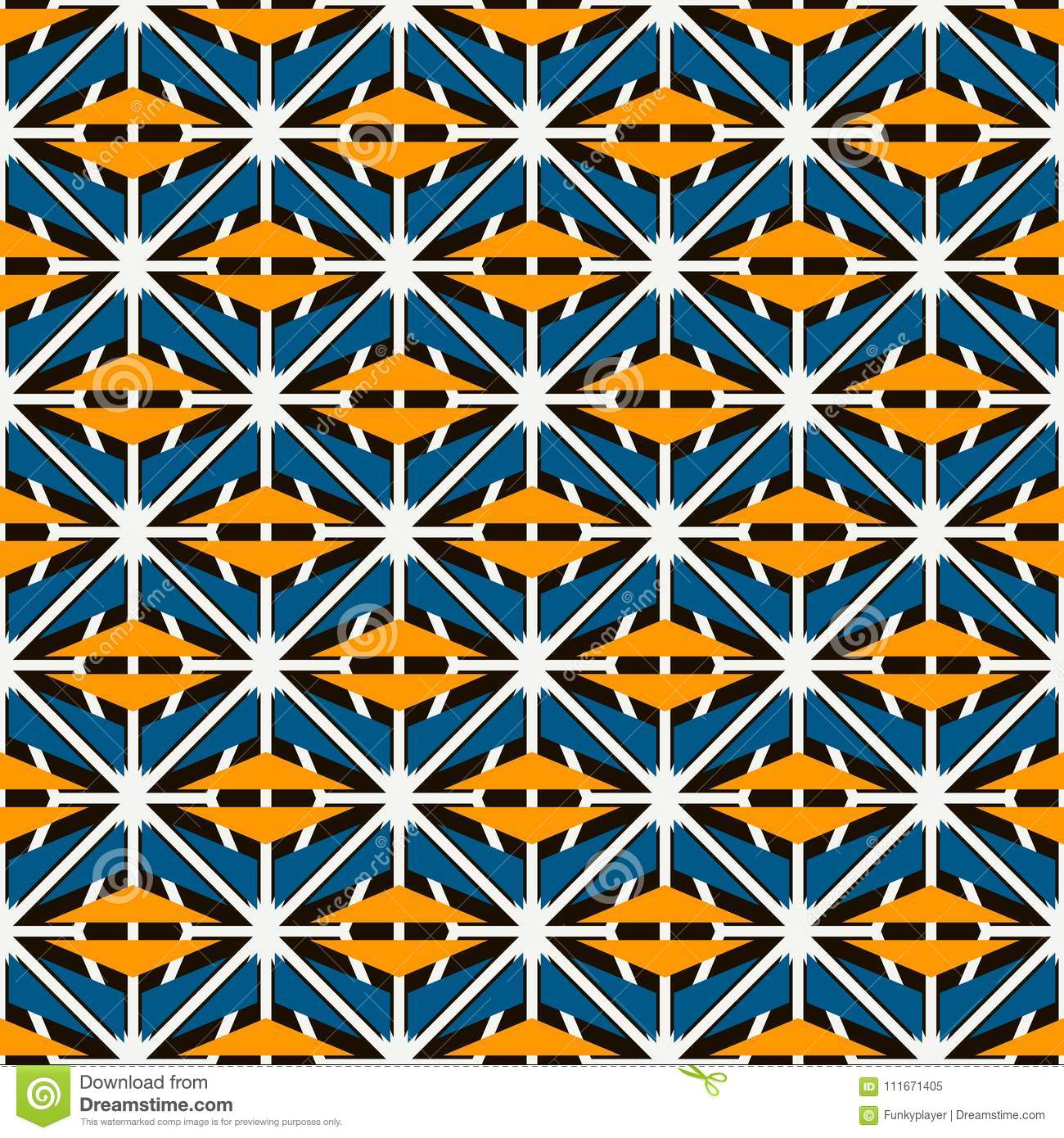 African style seamless surface pattern with abstract figures. Bright ethnic and tribal print grid geometric forms