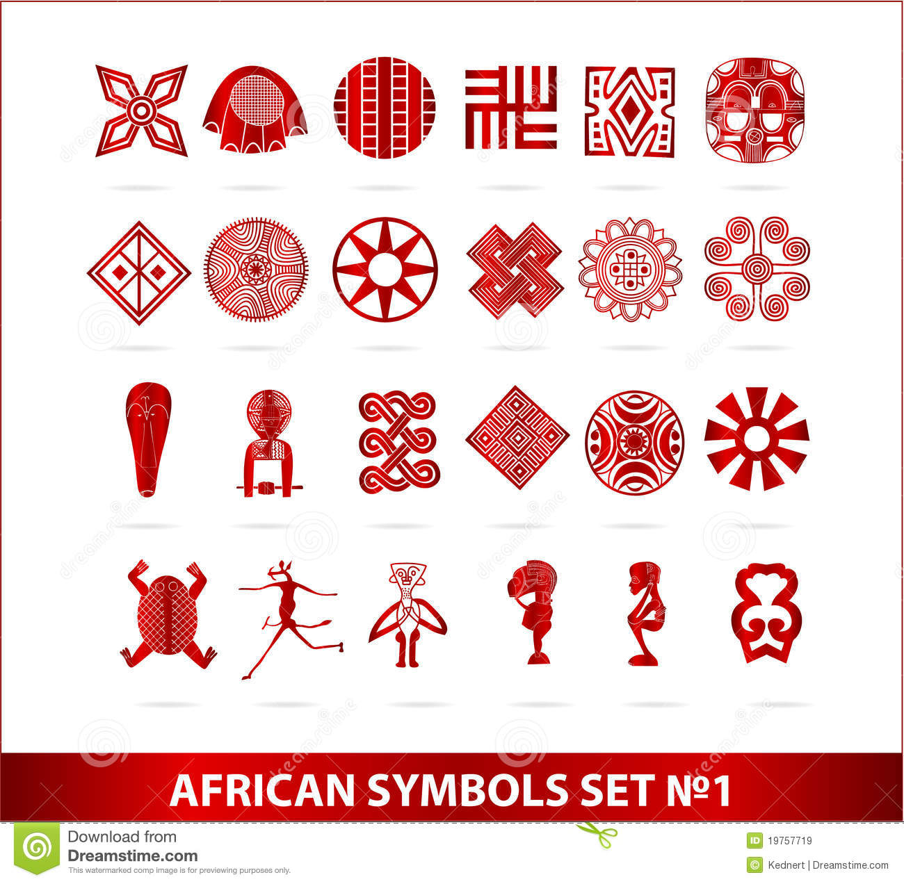 african symbols set red color isolated royalty free stock