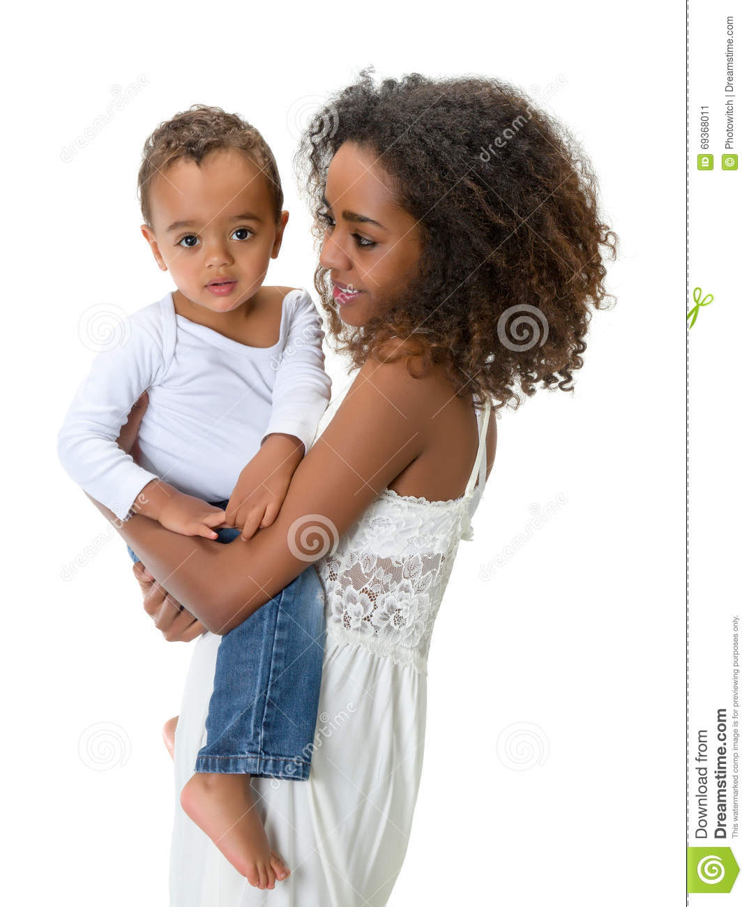 African toddler with mom