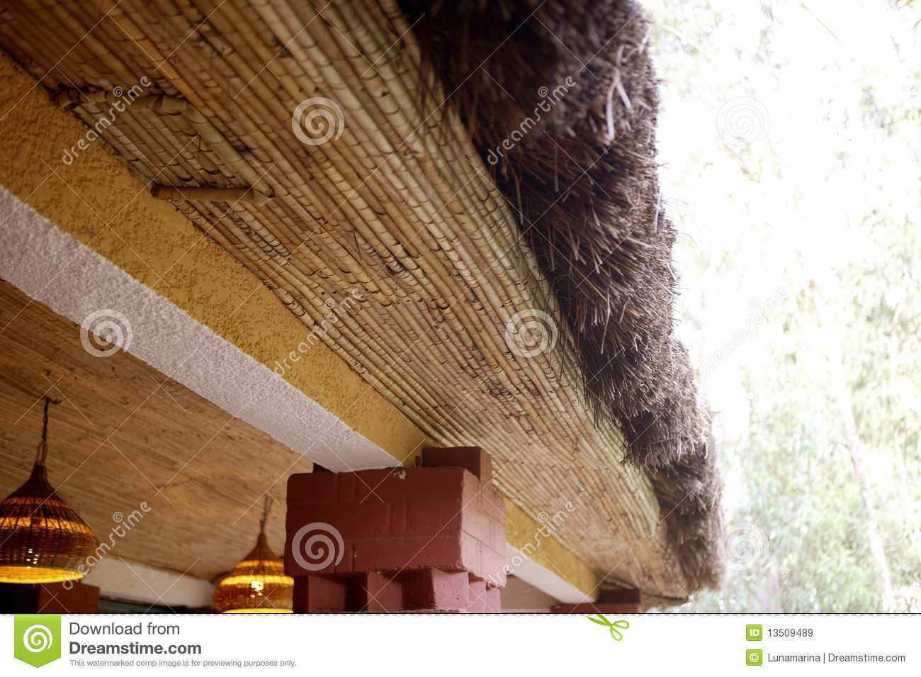 African traditional ethnic house vegetal ceiling stock for Casa tradizionale africana