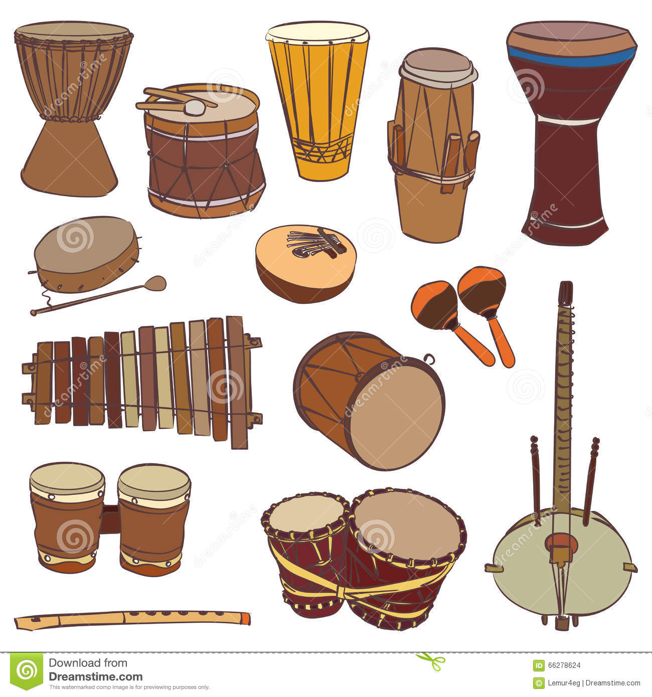 African Traditional Musical Instruments Stock Vector - Image: 65455288