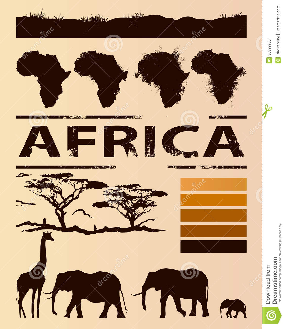 African travel design template. Set of animal, tree and continent ...
