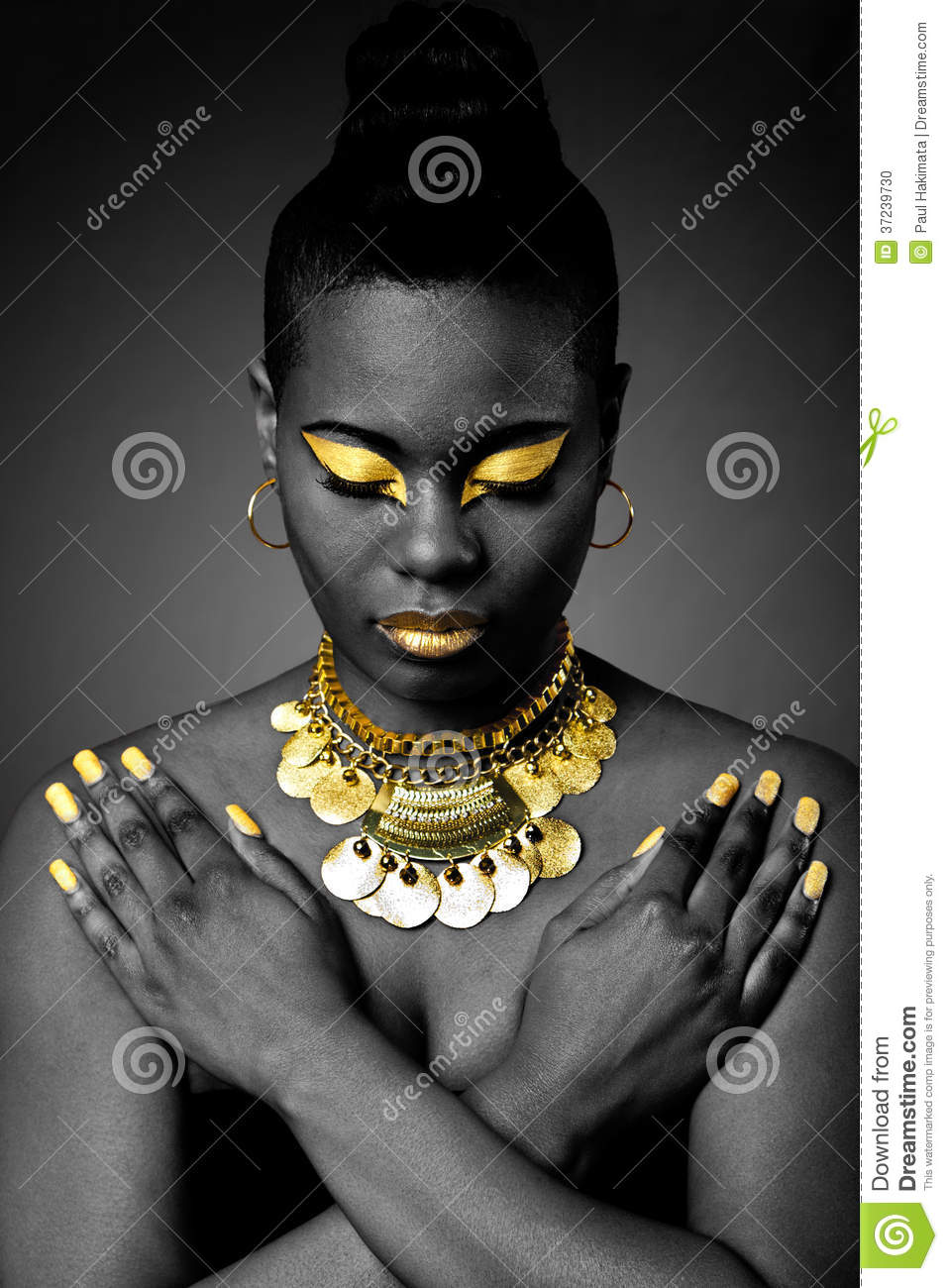 African Tribal In Gold Stock Photo Image 37239730
