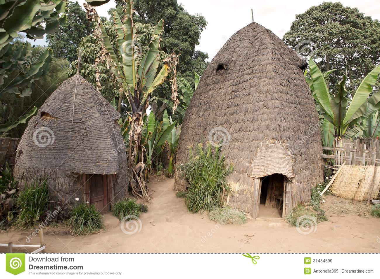African tribal huts st...