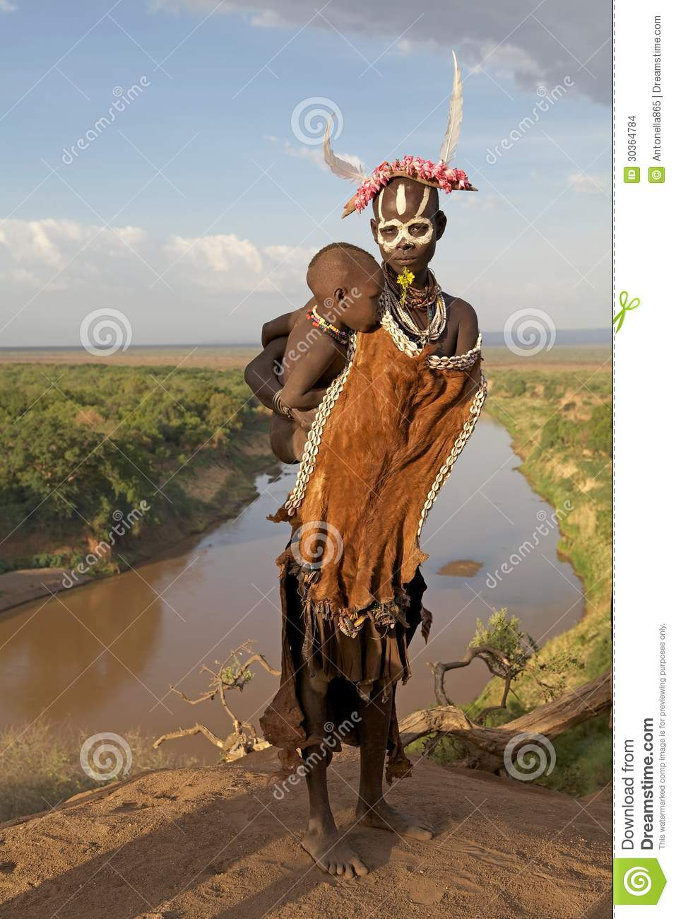 African Tribal Women Clothing African tribal woman and child