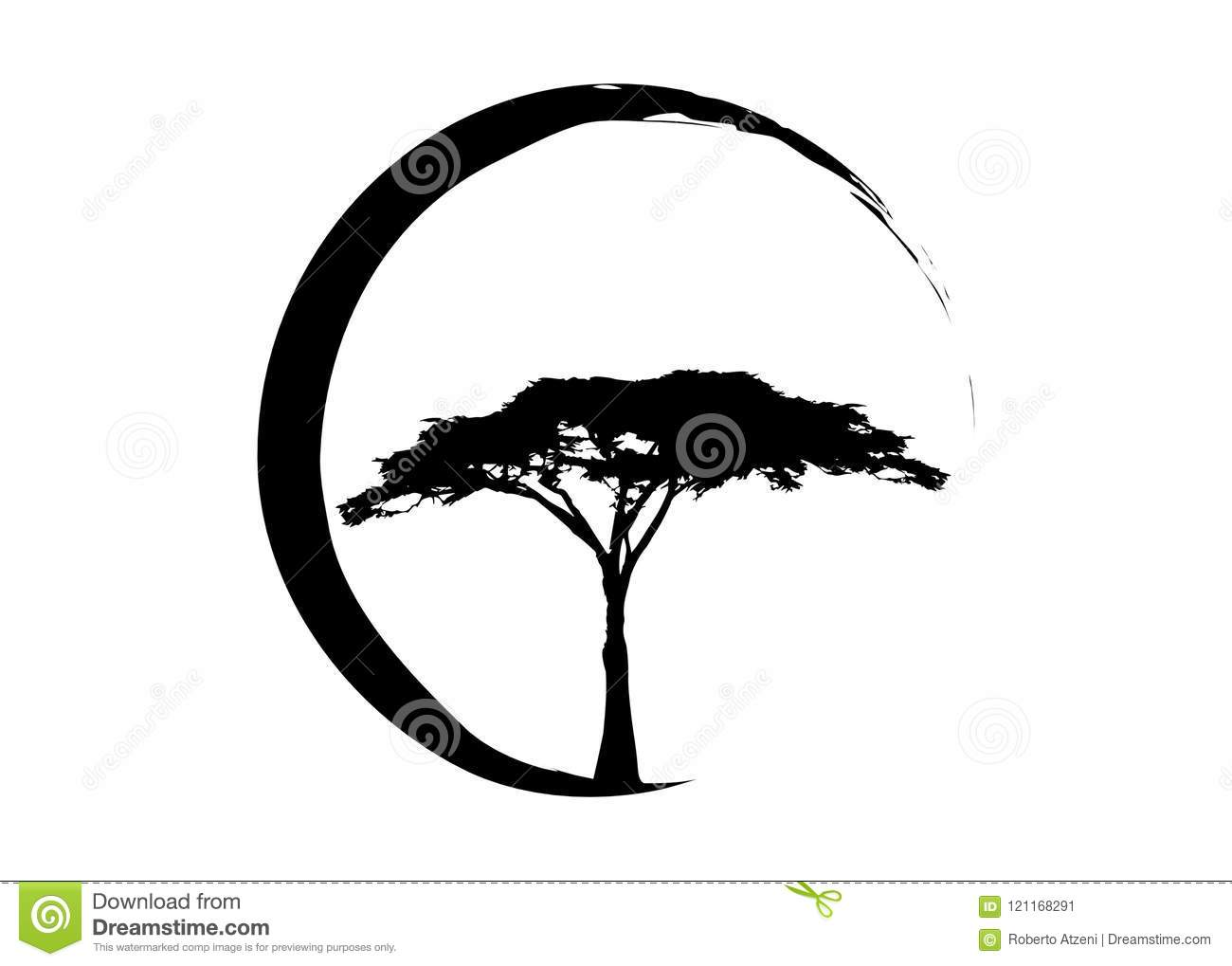 african tropical tree logo icon black and white acacia