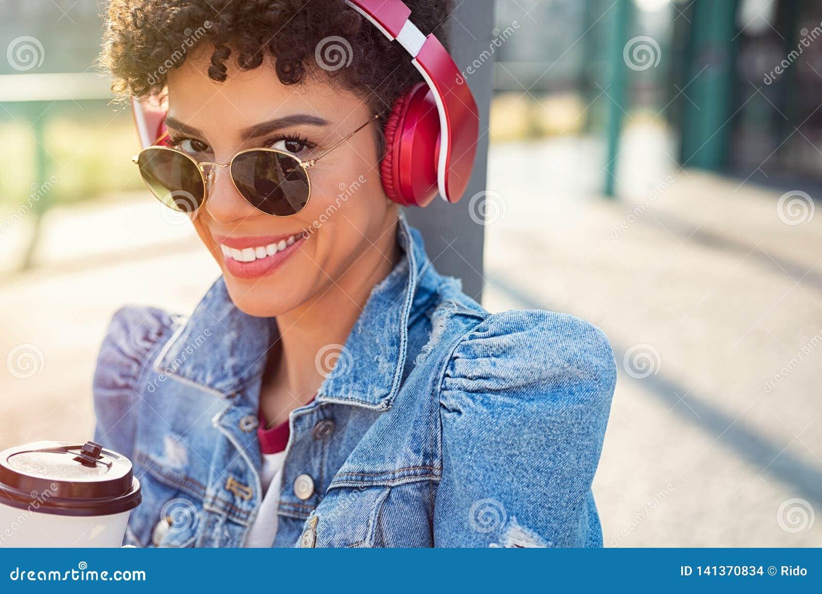 African urban girl with headphones