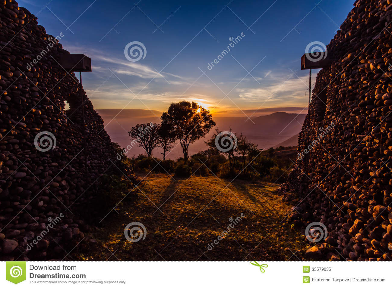 African view of sunrise in Ngorongoro Crater