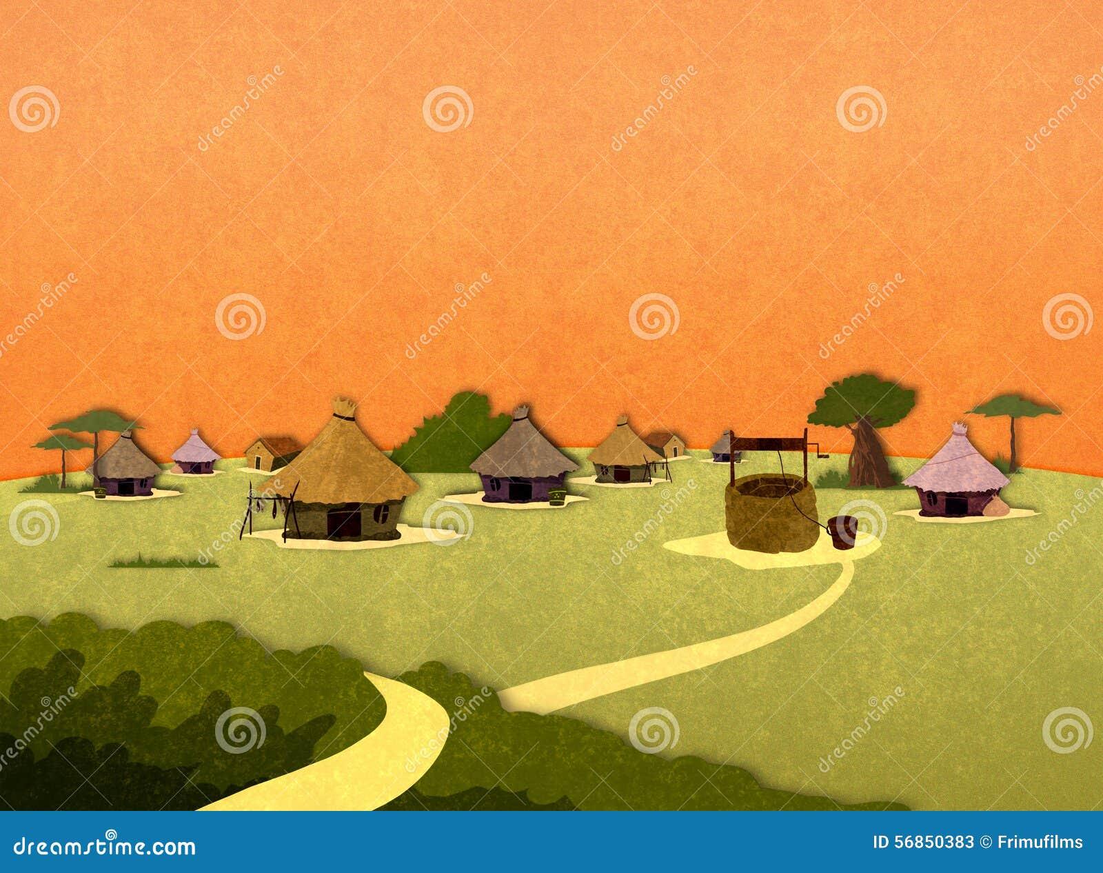 african village houses stock illustration image 56850383 Mud Building Green Mud