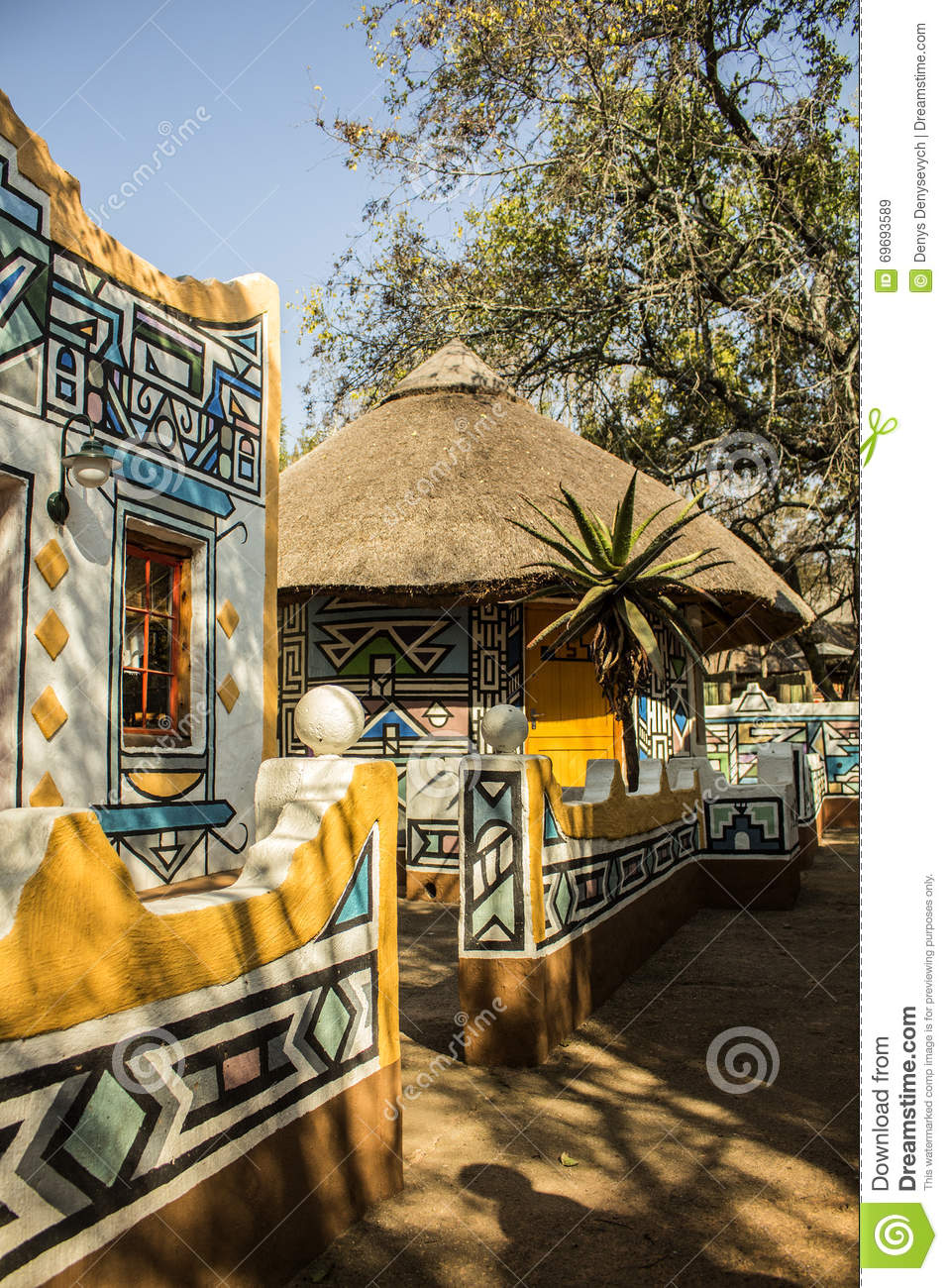 African village traditional ethnic tribal painting style for Tribal house