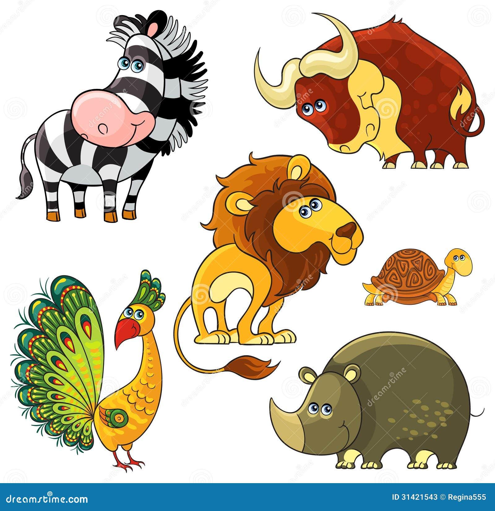 African Wild Animals Set Stock Vector Illustration Of