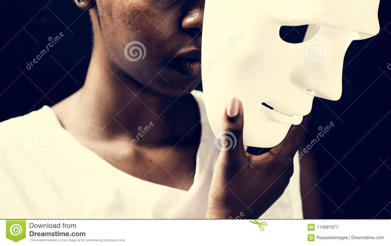 Download African Woman Holding White Mask Stock Image - Image of woman, face: 115691977