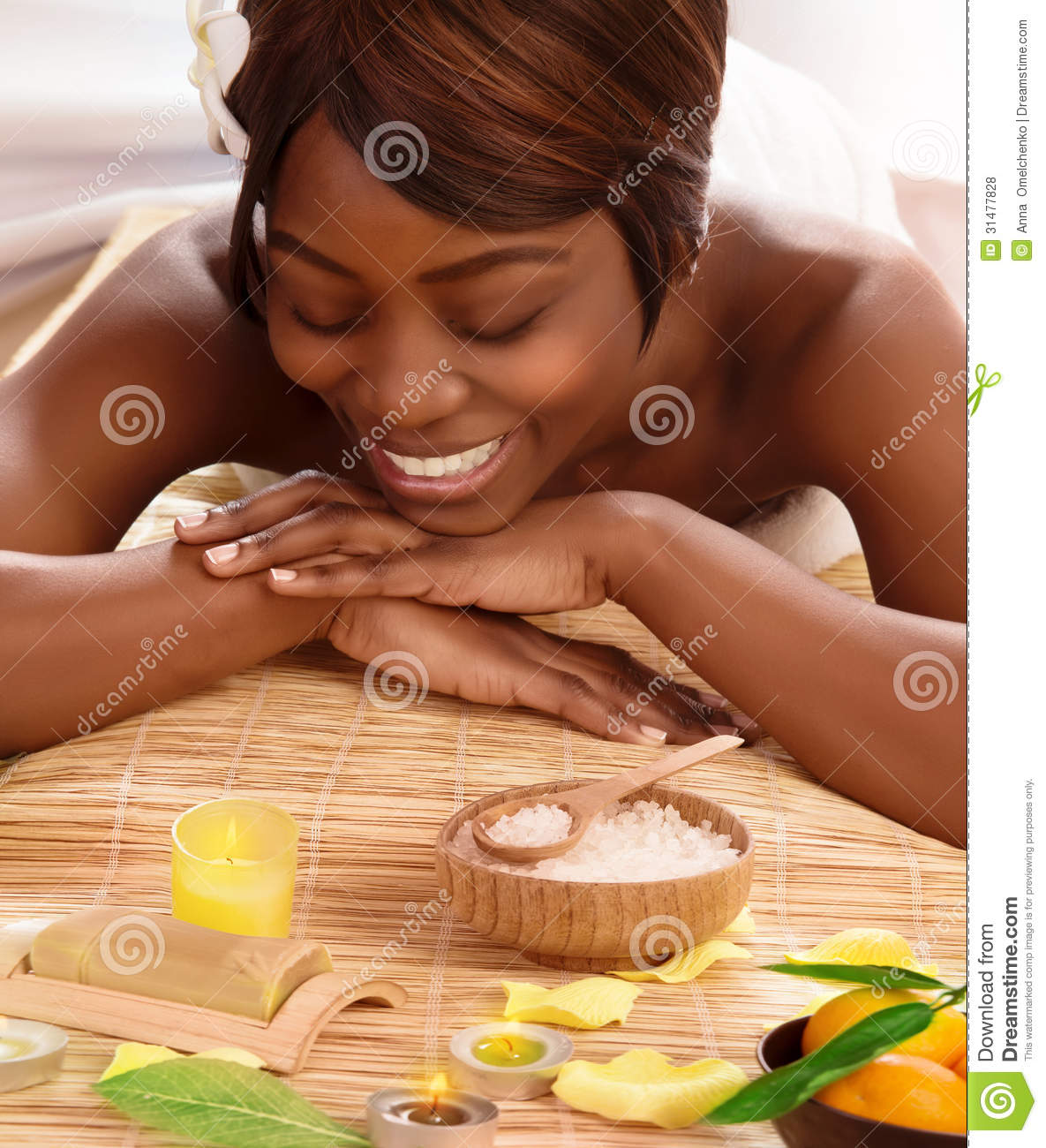 African Woman On Massage Table Royalty Free Stock Photos ...