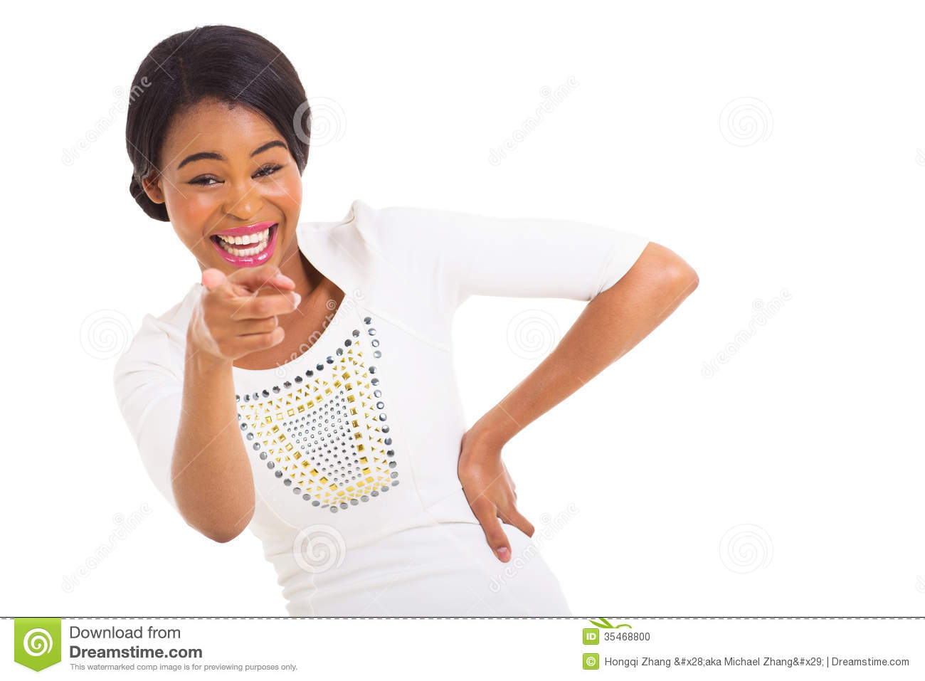 african woman pointing laughing stock photo image 35468800