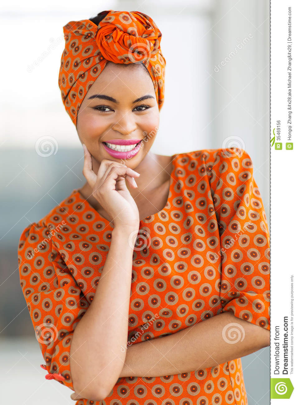 Attractive african woman wearing traditional attire